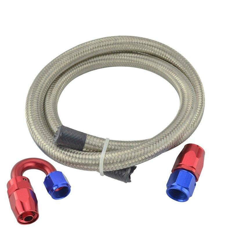SPEEDWOW AN4/6/8/10/12 1M tubo de manguera de combustible de aceite trenzado doble de acero inoxidable + adaptador de extremo de manguera de accesorios giratorios de 0/180 grados