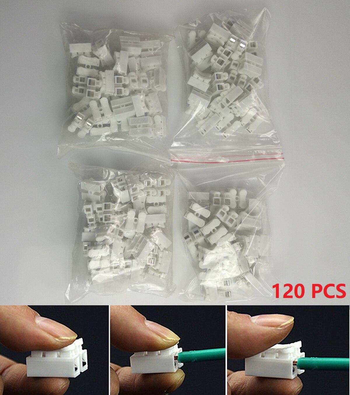 120 pçs/lote elétrica 2 pinos conectores de cabo ch2 rápida emenda terminais de fio de bloqueio