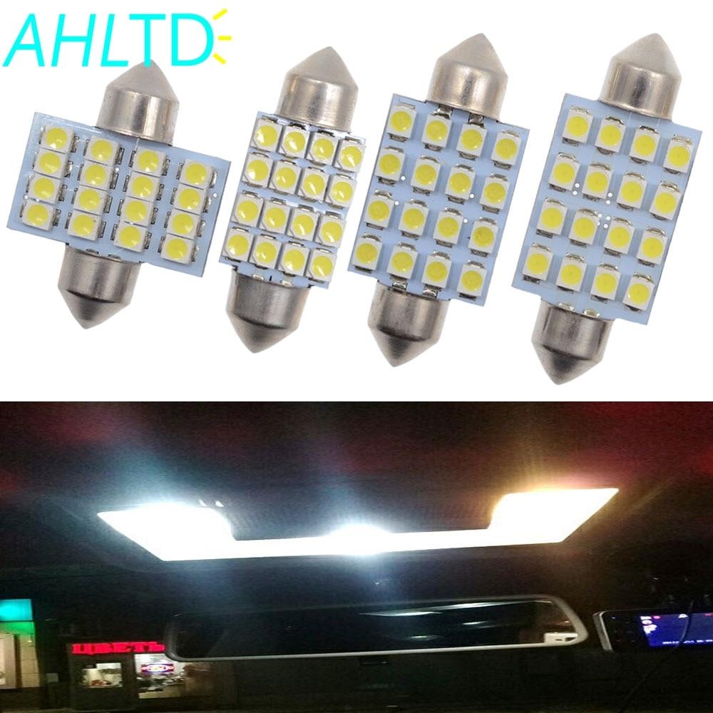 2 uds 3528 1210 blanco 16 SMD LED cúpula de coche Festoon bombillas interiores 31mm 36mm 39mm 41mm Auto techo coche maletero luz DC 12V