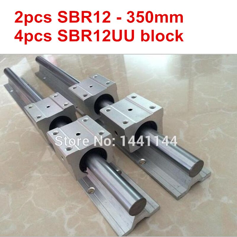 SBR12 الخطي دليل السكك الحديدية: 2 قطعة SBR12 - 350 مللي متر دليل خطي + 4 قطعة SBR12UU بلوك ل cnc أجزاء