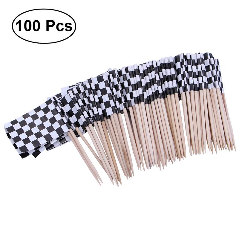 Paquete de 100 palillos bandera a cuadros palillos de carreras palitos para fruta para cóctel-blanco y negro