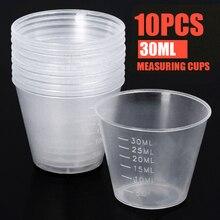 Tasse de mesure en plastique   10 pièces/ensemble de 30ml échelle transparente, tasse transparente récipient de liquide jetable