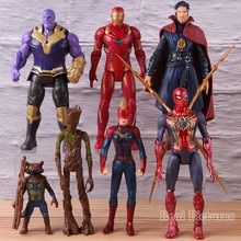 Marvel Avengers 모델 장난감 Collectible Figure 캡틴 아메리카 철 남자 로켓 너구리 캡틴 마블 박사 이상한 5 7 개/대