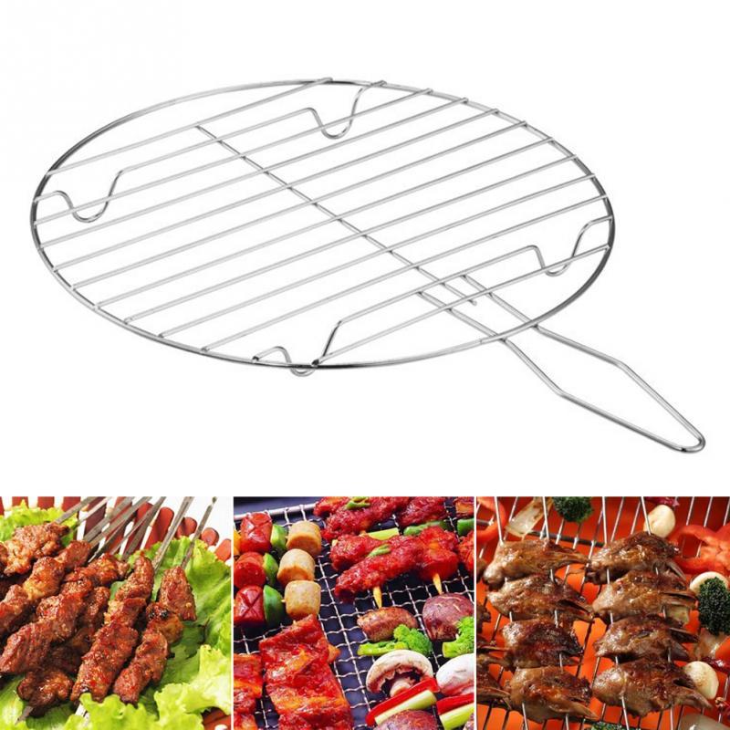 Carne de acampamento net grelhar rack peixe vegetal aço inoxidável redonda removível portátil churrasco alimentos