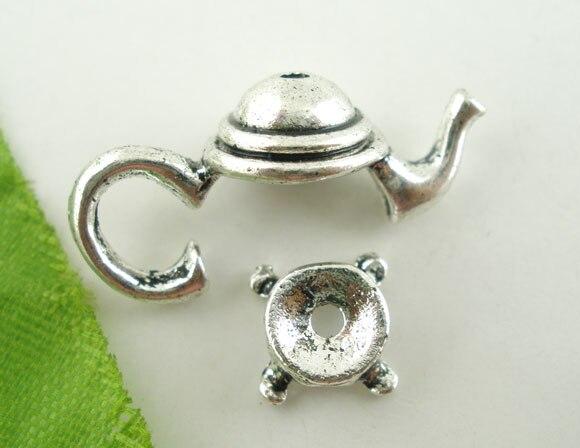DoreenBeads 10Sets Silver Color Teapot Bead Cap Set Findings 21x9mm (B03443), yiwu