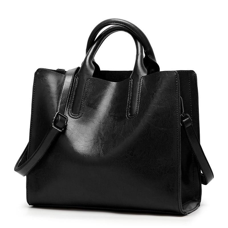 Oil Wax Leather Women's Tote Large-capacity Women shoulder bag Classic Casual Tote bags for women 2019 bolsa feminina new C836