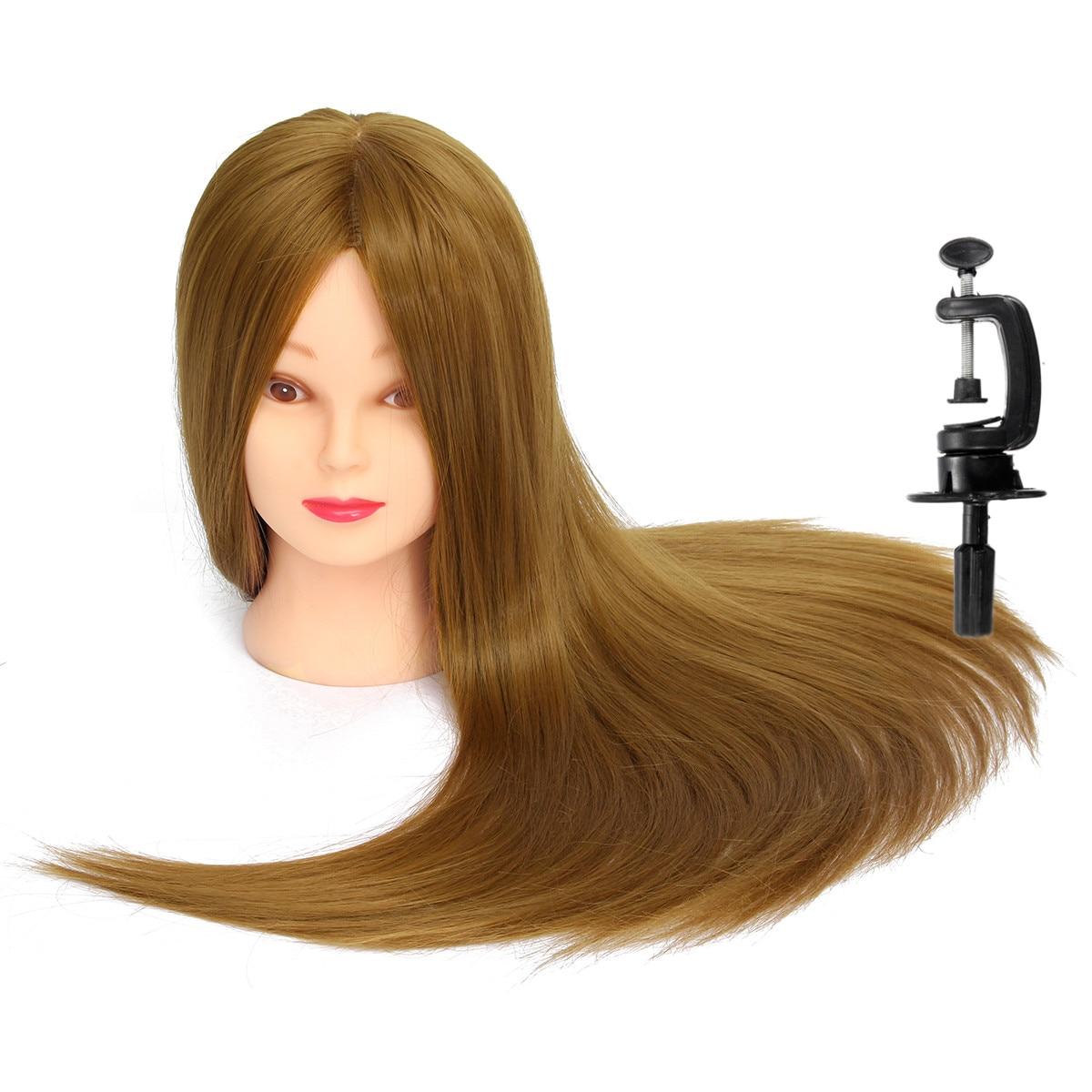 Cabeza de maniquíes profesional de 26 pulgadas para peluquería, cabeza de muñecas, maniquí femenino, peinado, cabeza de entrenamiento con cabello