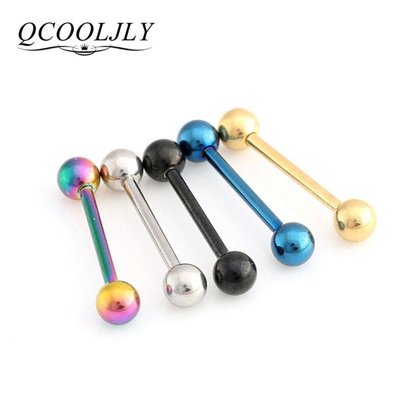 QCOOLJLY 1 PC dos tamaños 5 colores lengua Piercing para tabique Barbell Industrial carne túneles tapones de oído expansores de joyería del cuerpo