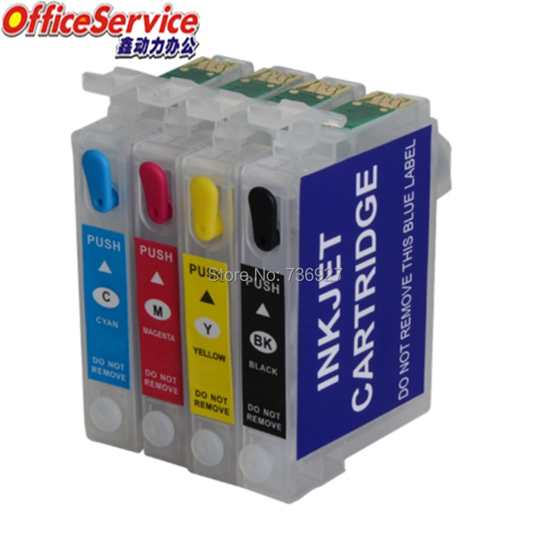Cartucho de tinta rellenable t1281 a t1284 para Epson SX230 SX425W SX430W SX435W SX438W SX445W BX305F BX305FW impresora con chip
