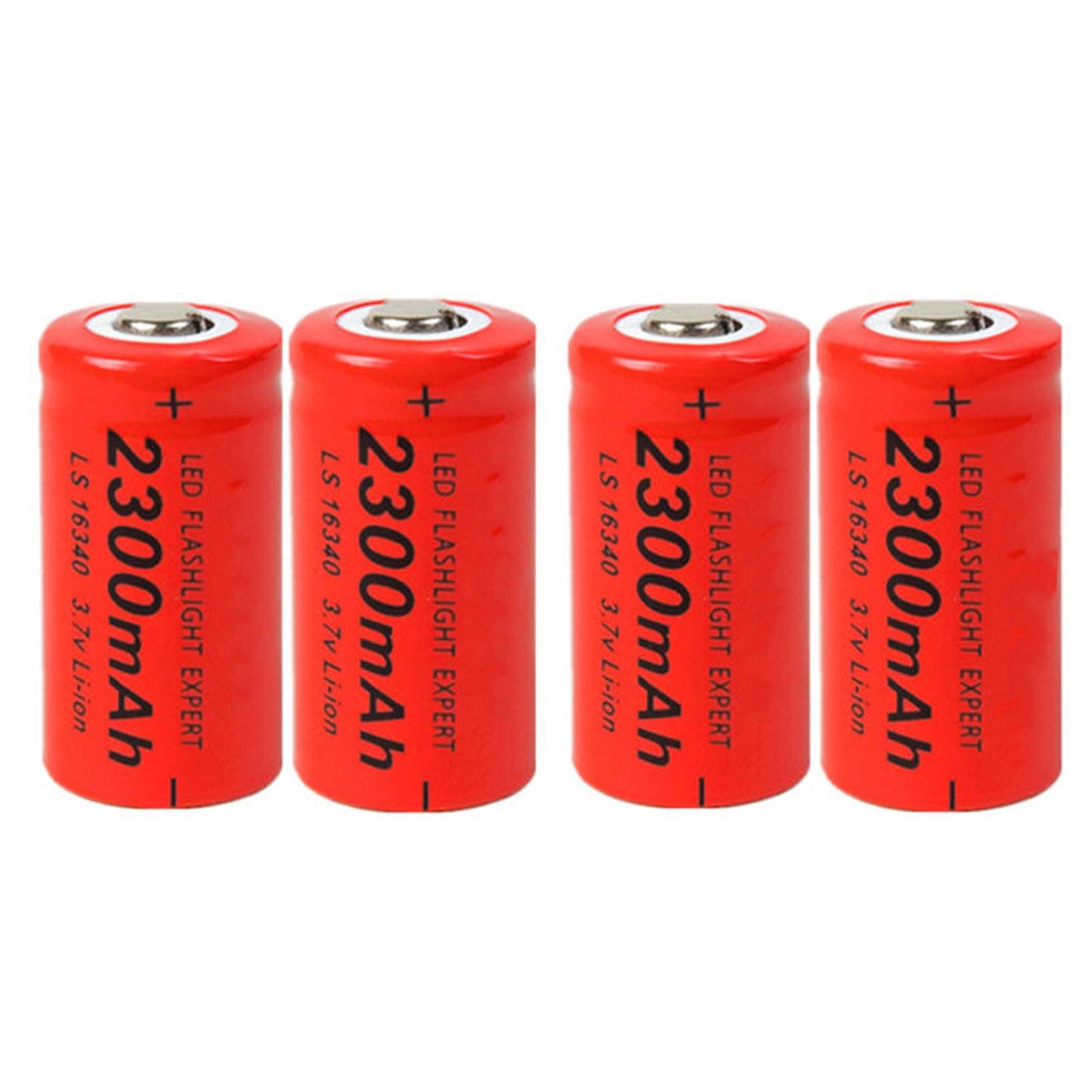 4 Uds 2300mAh 16340 Li-ion CR123A batería recargable roja para linterna