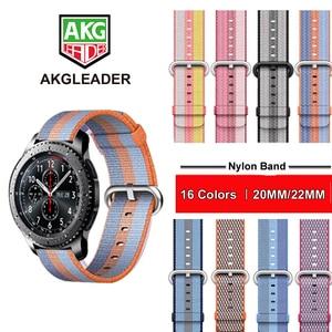 Ремешок нейлоновый для Samsung Galaxy Watch 42 мм 46 мм Gear S3 Classic Frontier S2 Classic Huami amazfit 1 2