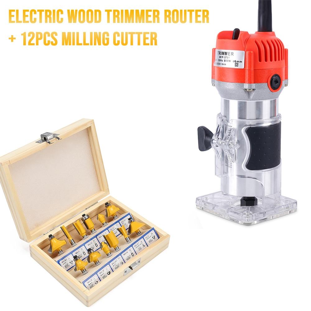 Nuevo cortador de madera eléctrico enrutador de madera + 12 Uds cortador de fresas Juego de Herramientas eléctricas para tallar madera recorte de ranurado