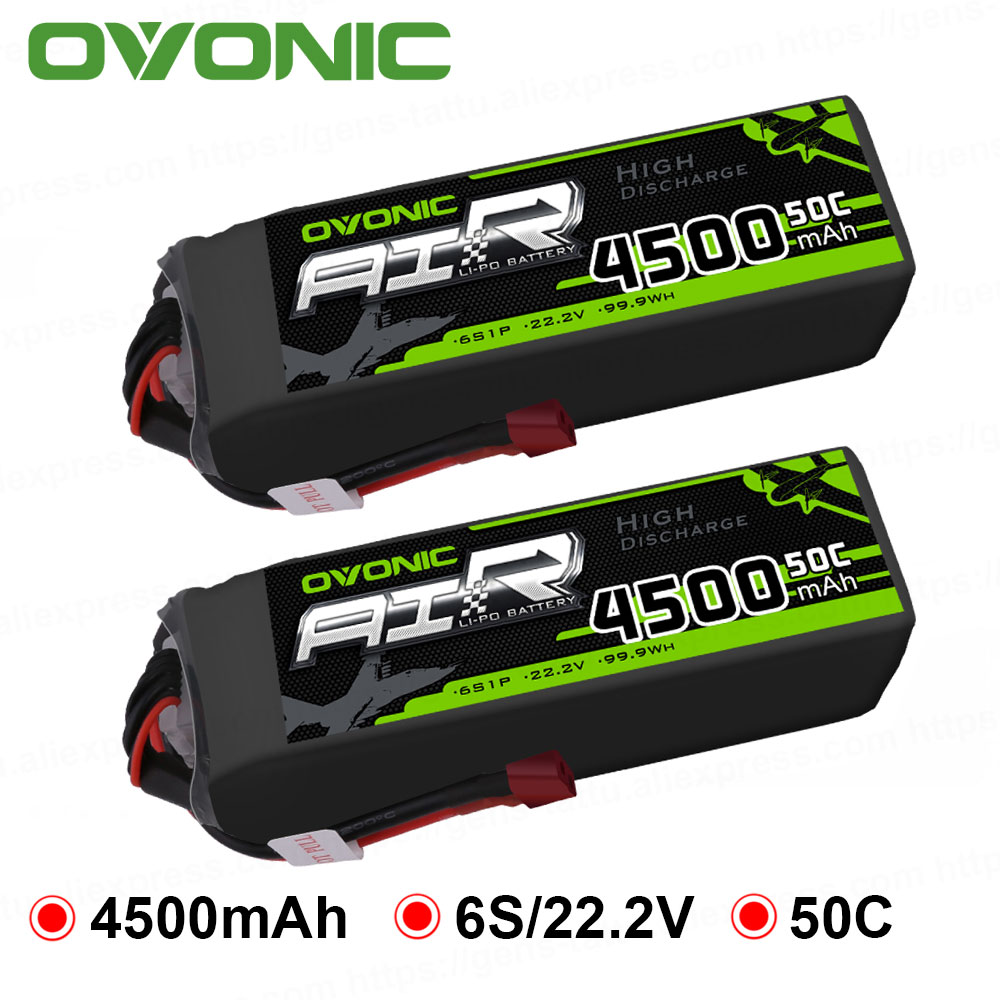 2X batería LiPo ovónica 4500mAh 22,2 V LiPo 6S 50C-100C Paquete de batería T y XT60 enchufe para coche RC 600 tamaño helicóptero Dron quad
