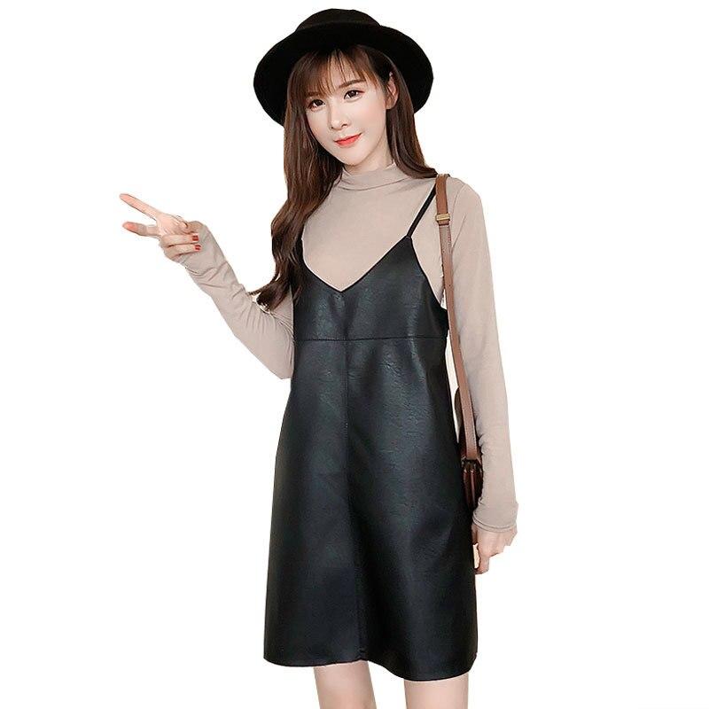 Vestido Sexy de verano 2019 para mujer de piel sintética, vestido de otoño negro sin mangas con cremallera, suelto, informal, con correa, vestidos femeninos H72