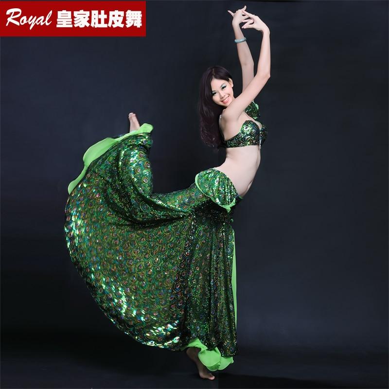 Лидер продаж, Женский комплект для танца живота, с рисунком павлина, с блестками, с вышивкой, костюм для танца живота, одежда для танца живота...