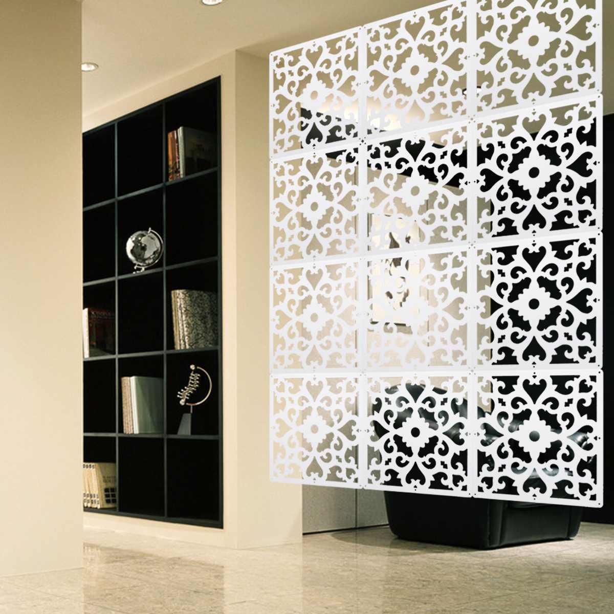 Parede sala de suspensão tela divisor 12 pçs/lote pvc cortina painéis divisórias esculpida divisão espaço decoração para casa artesanato