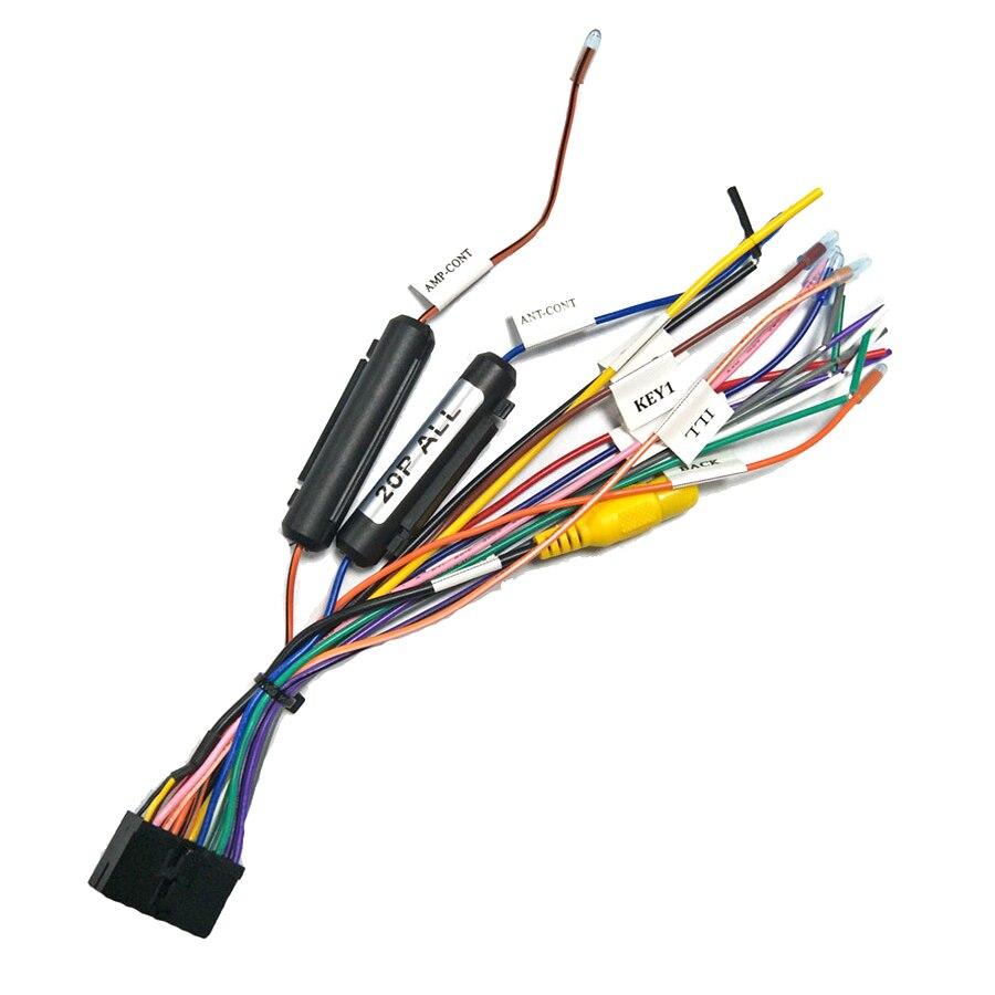 Adaptador de conector de arnés de cableado de 20 pines para reproductor multimedia estéreo de coche, arnés de Cable de alimentación para 1din o 2din DVD Android Power