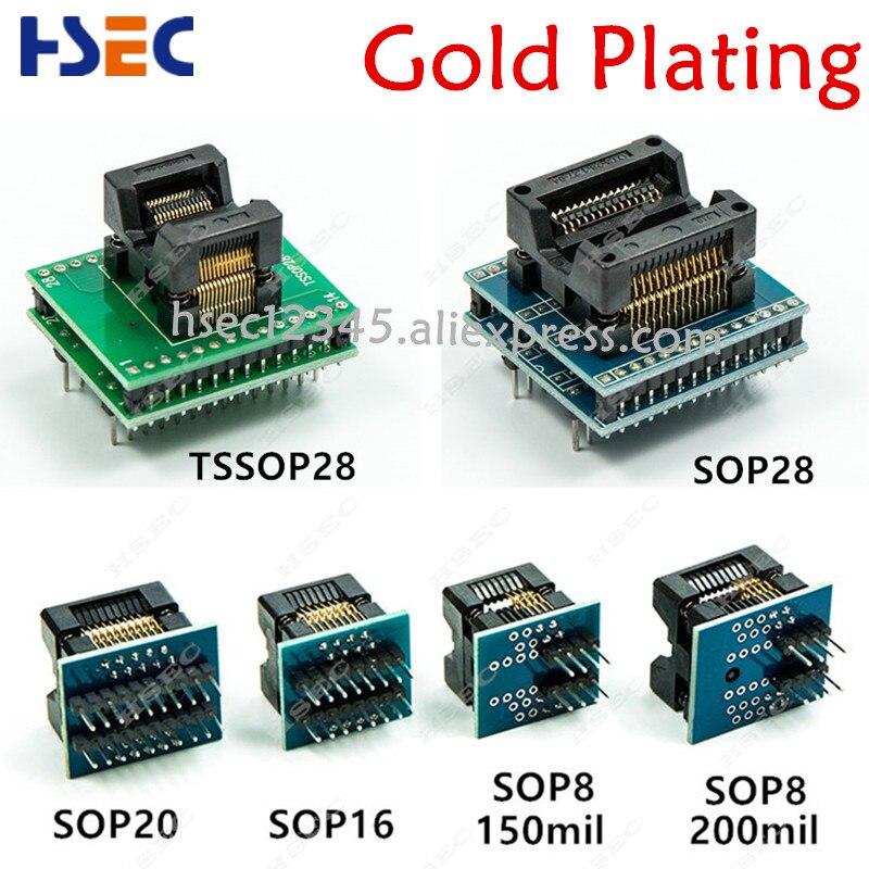 6 uds TSSOP28 SSOP28 SOP28-DIP28 adaptador SOP20 SOP16 SOP8 150mil 200mil a DIP8 adaptador compatible tssop20 ssop20 tssop8 hembra