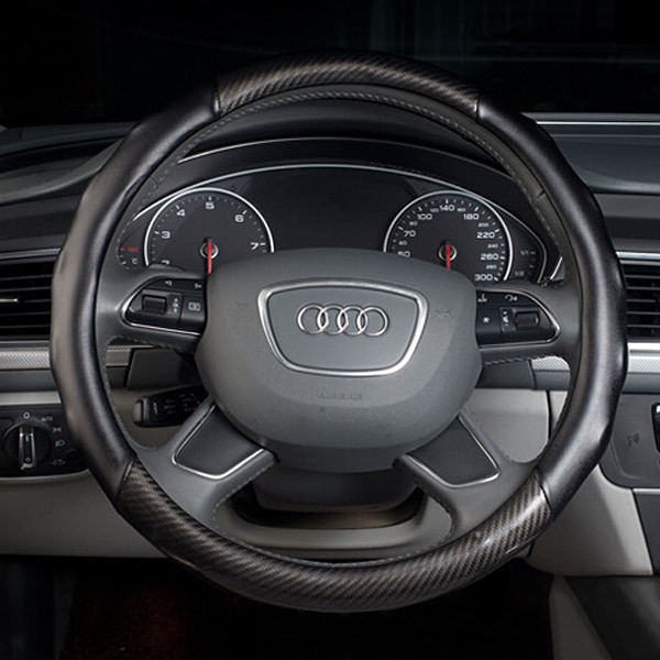Cubierta del volante del coche de la fibra de carbono Universal de 38 cm cubierta del volante del coche negro accesorios antideslizantes