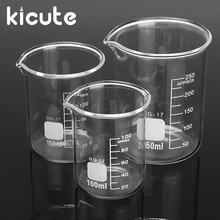 Kicute 3 stücke 100ml 150ml 250ml Glas Becher Set Absolvierte Transparent Borosilikatglas Becher Schule Studie Labor liefert