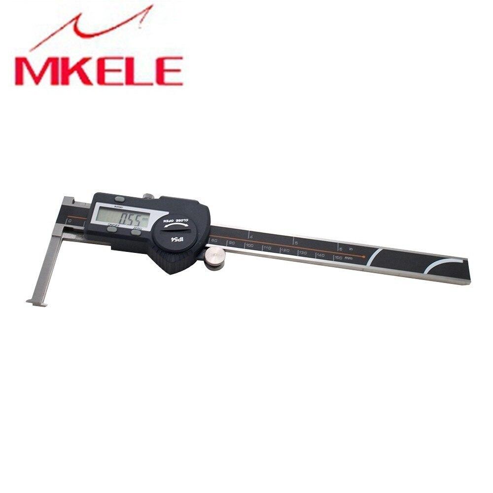 Envío Gratis 8-150mm 0,04mm electrónico Digital tanque interno ranura Vernier calibrador con cuchillo borde micrómetro IP54 impermeable