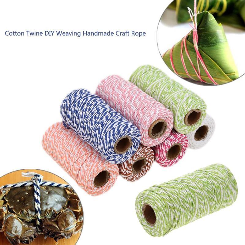 1 rollo 100 metros 2mm algodón panaderos cuerda rústico país artesanía para tejido DIY hilo artesanal