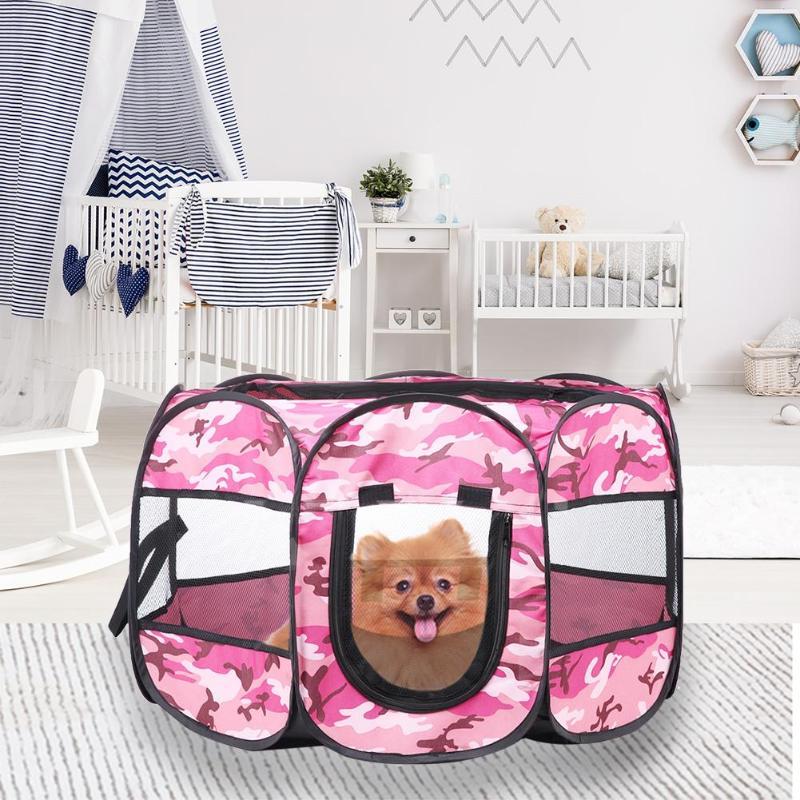 Impermeable portátil plegable perro tienda casa jaula tipo nido Anti-mosquito cachorros de compañía corralito cerco octagonal