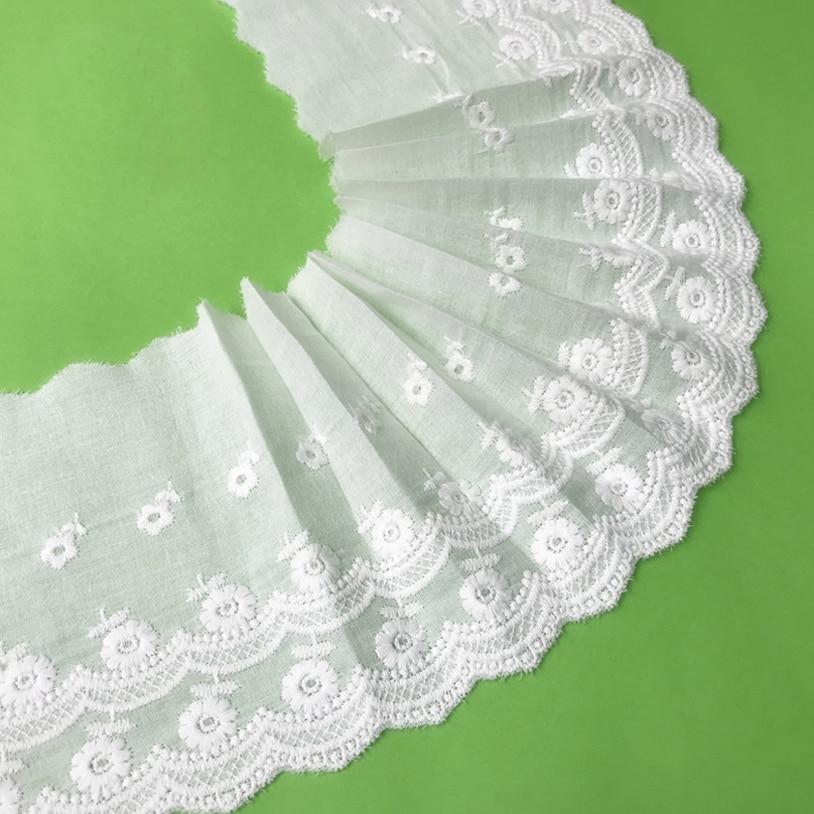 Garnitures en tissu de coton blanc 6yards   Garniture en dentelle brodée, ruban en tissu de dentelle, vêtement fait main, bricolage couture ourlet accessoires vêtements