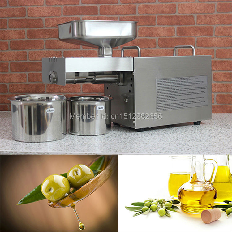 home use stainless steel screw coconut oil presser expeller cold hot press oil machine peanut sesame oil maker 220v or 110v Stainless steel automatic small seed oil extraction machine, cold oil press, oil expeller, mini oil press machine for home