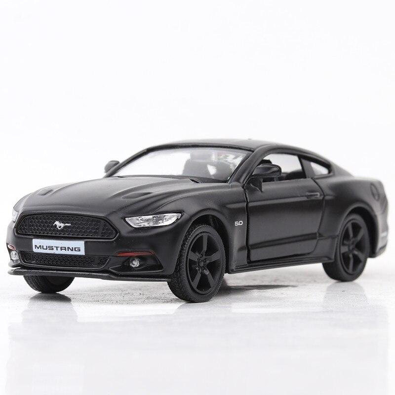 1:36 aleación mate negro Ford Mustang Pull Back Retro Coche juguetes vehículo
