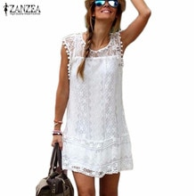Été gland Sexy dentelle robe femmes a-ligne robe décontracté sans manches plage Mini robe Zanzea solide blanc Vestidos grande taille 5xl