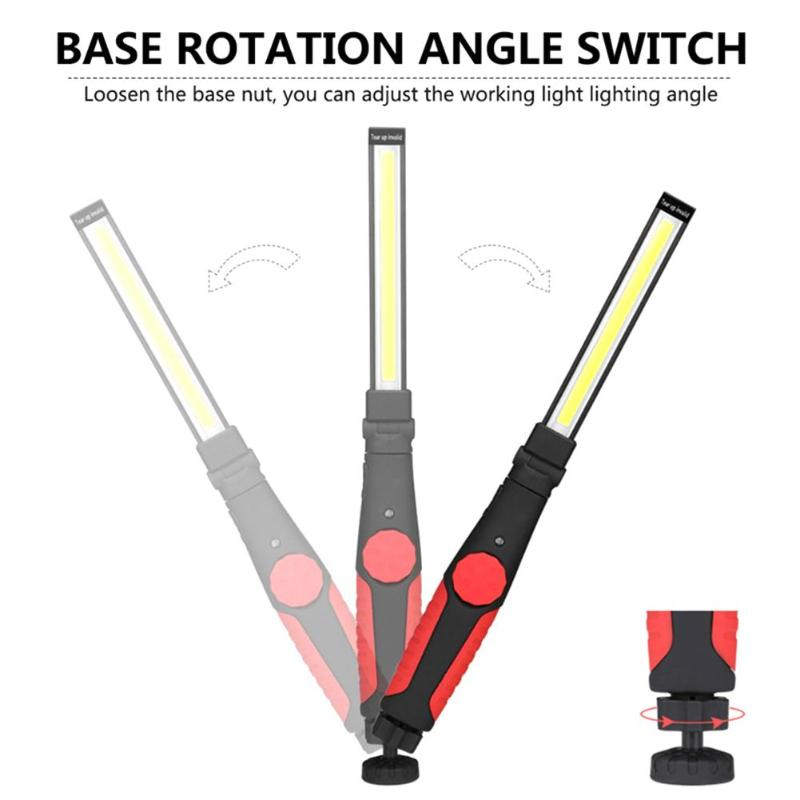 Tubo de inspección magnético potente COB luz de trabajo LED de carga USB 360 grados Luz de reparación automática regulable linterna para camping
