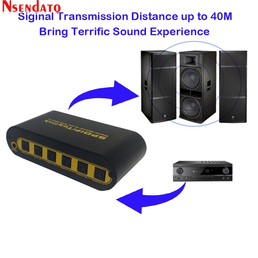 Spdif toslink óptico de áudio digital matriz verdadeira 4x2 interruptor 4 em 2 fora switcher com cabo óptico controle remoto para ps4 hdtv