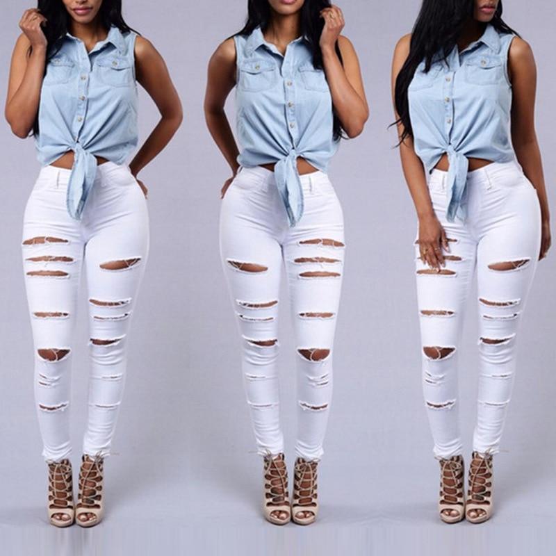 Skinny Jeans Mujer Denim agujeros de rodilla rasgados lápiz pantalones de alta cintura Pantalones Mujer negro blanco Stretch Cloth-Fitting Jens Mujer