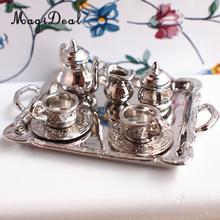 10 pièces en alliage dargent thé couvercle Pot tasses plateau ensemble pour 112 maison de poupée Miniature poupée maison modèle meubles décor Accs