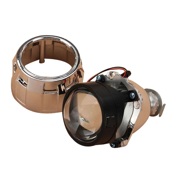 2 uds. Bi Xenon Universal de 2,5 pulgadas lente de proyector HID cubierta plateada negra H1 bombilla LED de xenón H4 H7 faro de motocicleta