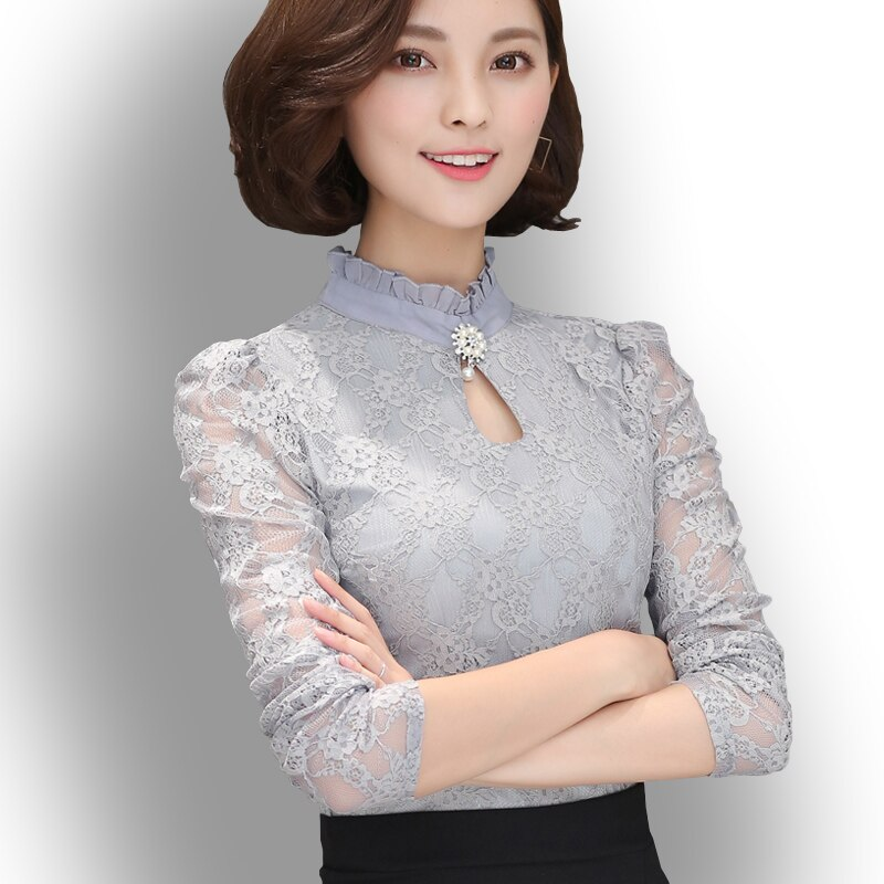 Women's New Chiffon Lace Blouses Tops Feminine Long Puff Sleeved Shirt Ruffled Button Tops Plus Size 4XL Blusa Fiminina