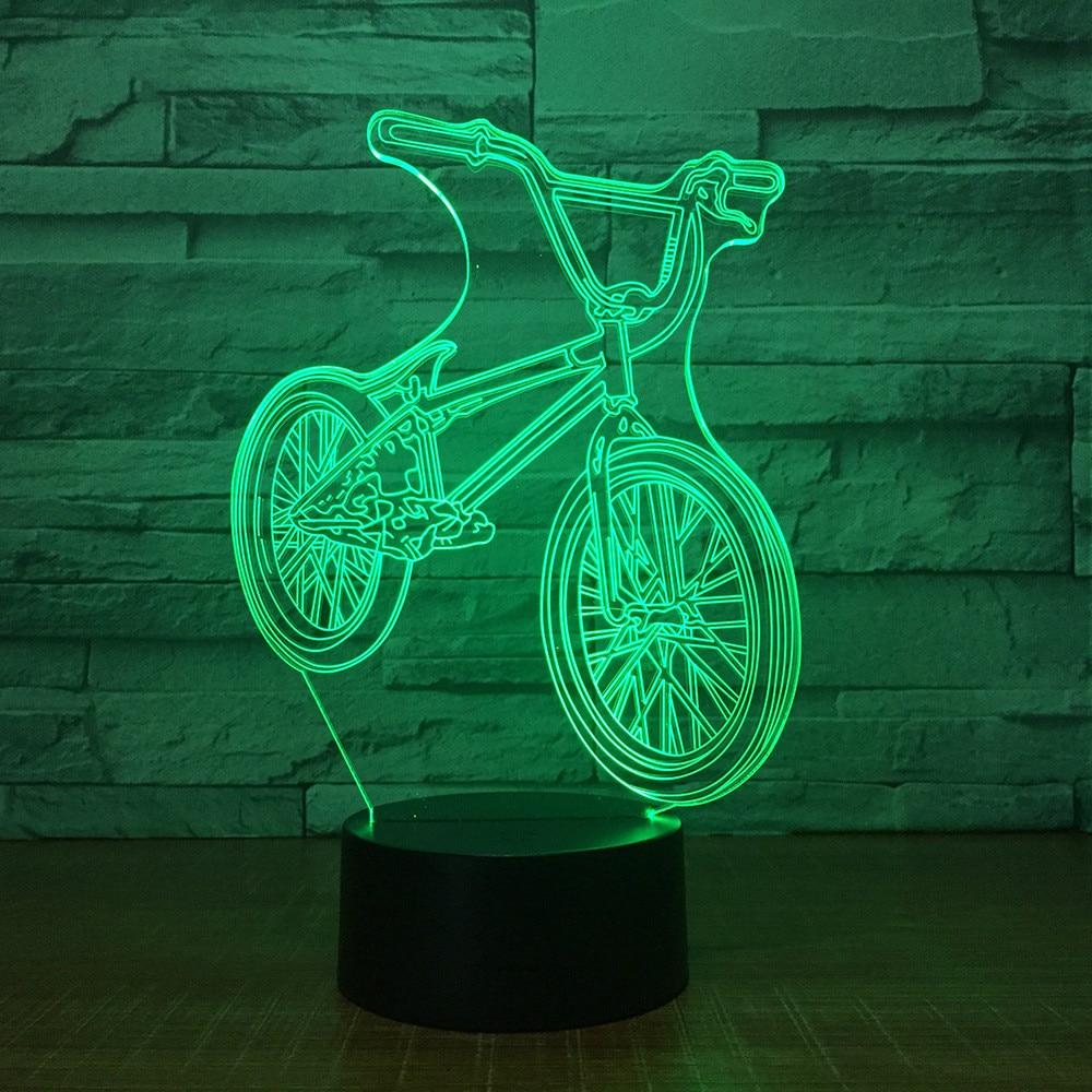 3D bicicleta Bus acrílico LED luz de noche táctil 7 colores cambiador escritorio luces de fiesta Sensor decorativo luz regalo de Navidad