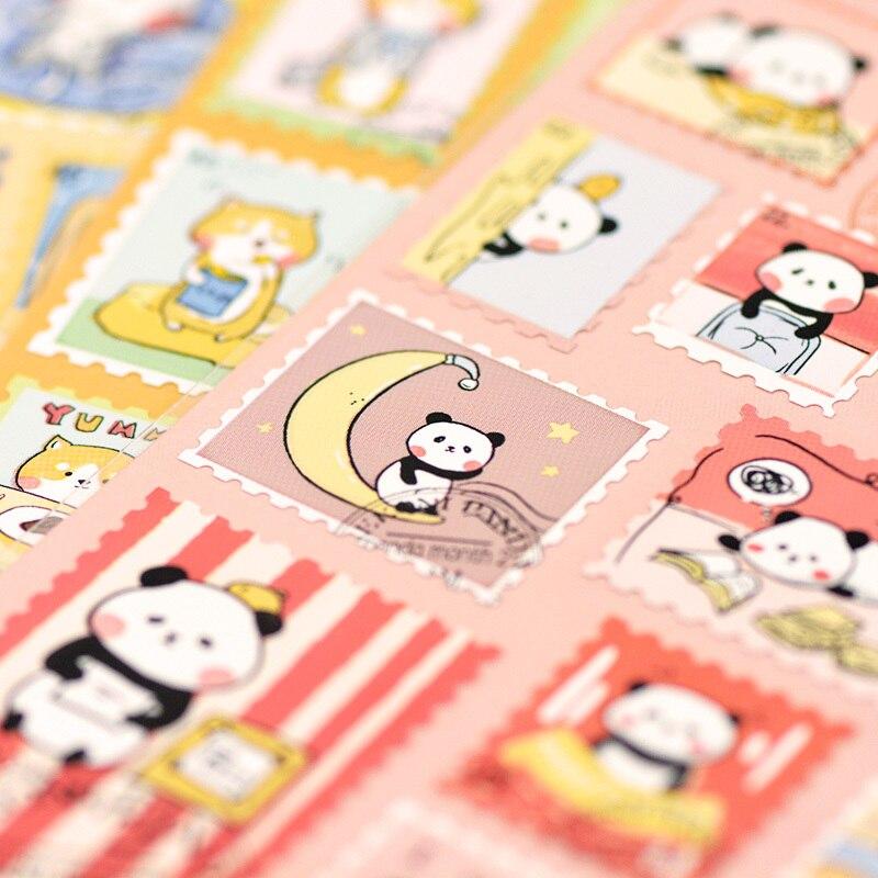 22 pçs/1 folhas criativo estilo selo pvc impermeável kawaii adesivo animal dos desenhos animados japoneses diy bonito etiqueta adesivos scrapbooking