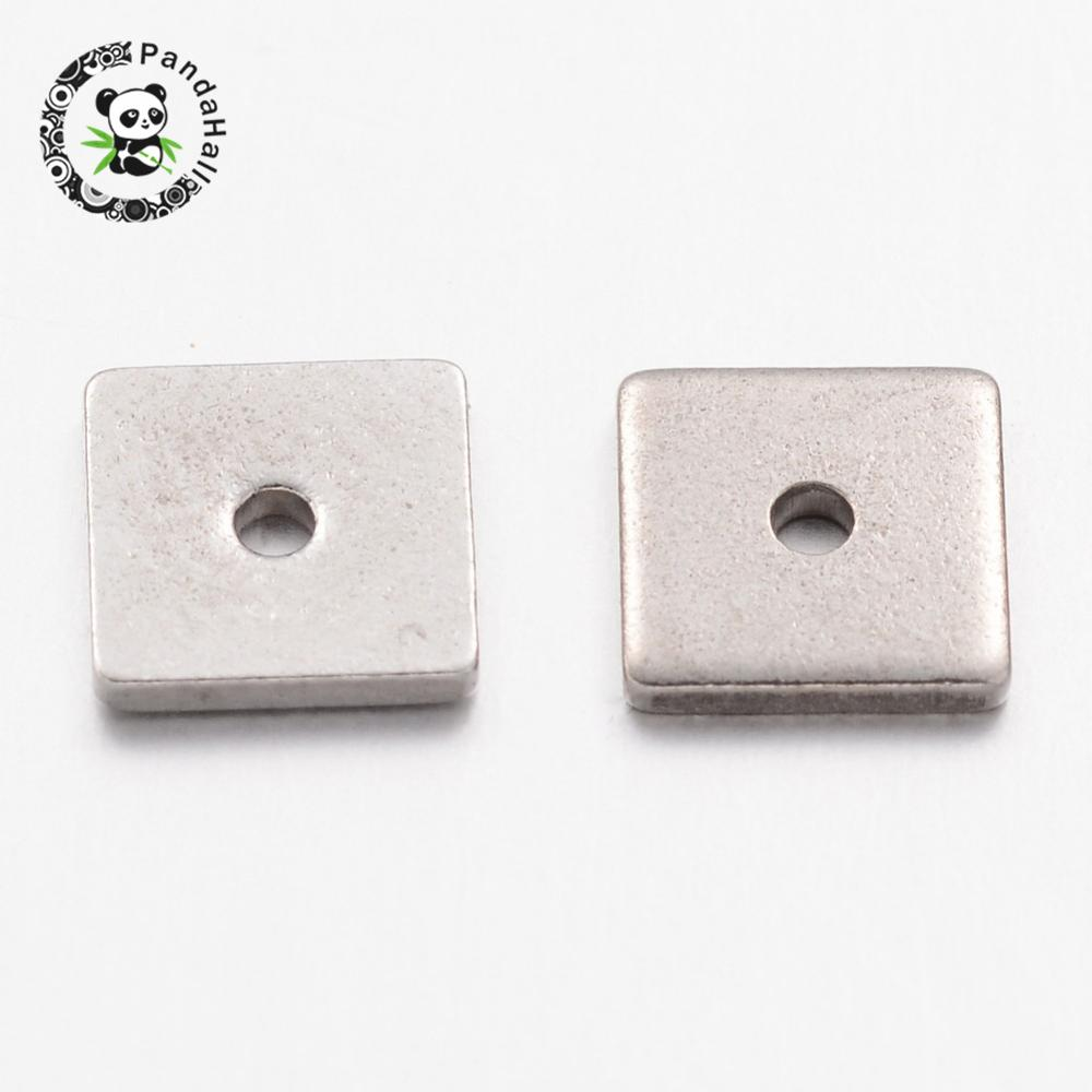 300pcs 304 Stainless Steel Bead Spacers, Square, Stainless Steel Color, 6mm long, 6mm wide, 1mm thick, Hole: 0.5mm, Sleek Corner