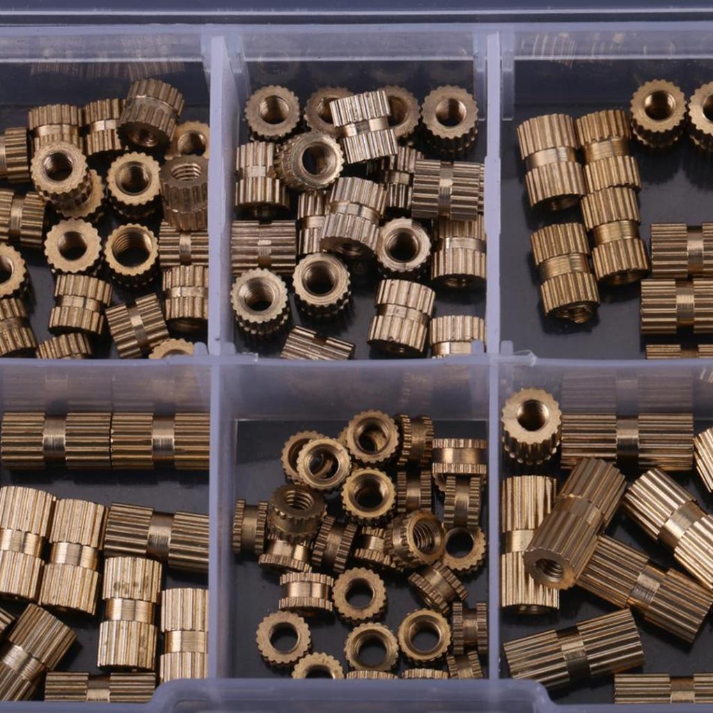 150pcs/Box M3 Copper Knurl Insert Nuts Threaded Insert Screws Assortment Set Kit Industry Machinery Nut Injection Tools Fastener
