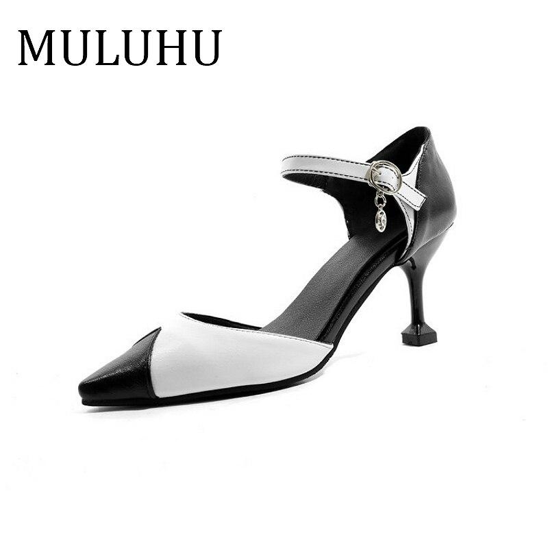 MULUHU nuevos Zapatos de Mujer de tacón alto Zapatos de Mujer de negocios, Zapatos de boda, Zapatos de hebilla tendencia de alta calidad Zapatos de tacón alto