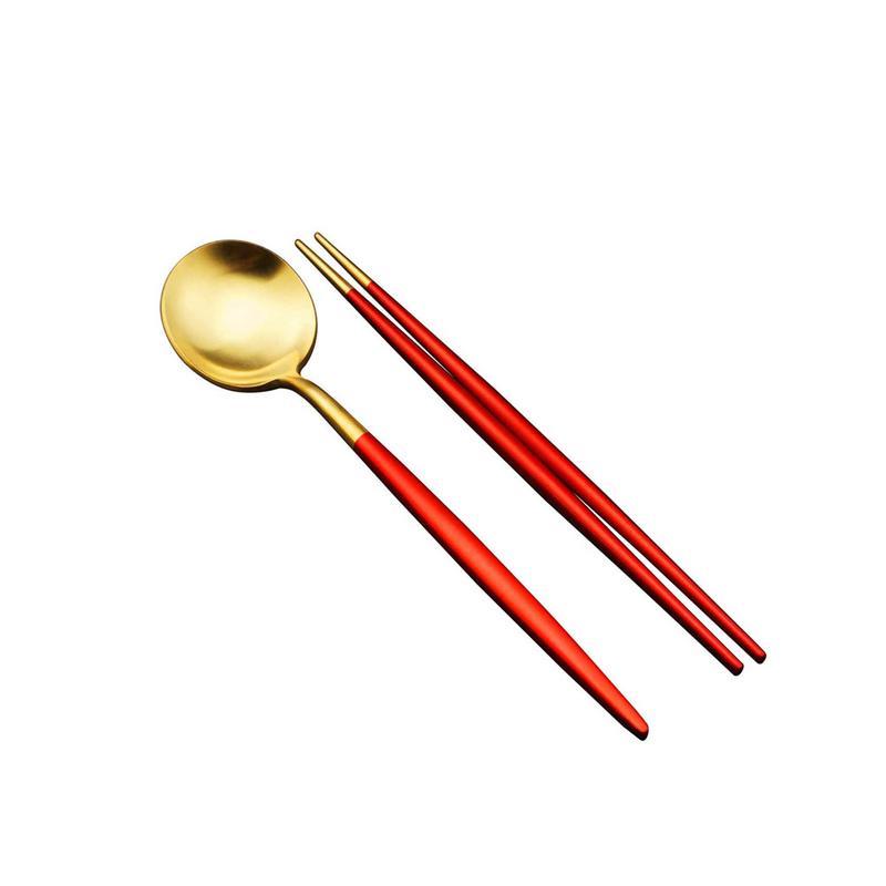 Acero inoxidable Sushi palillos cuchara juego coreano reutilizable negro Rosa oro Hashi Sushi palos hogar utensilios de cocina Accesorios