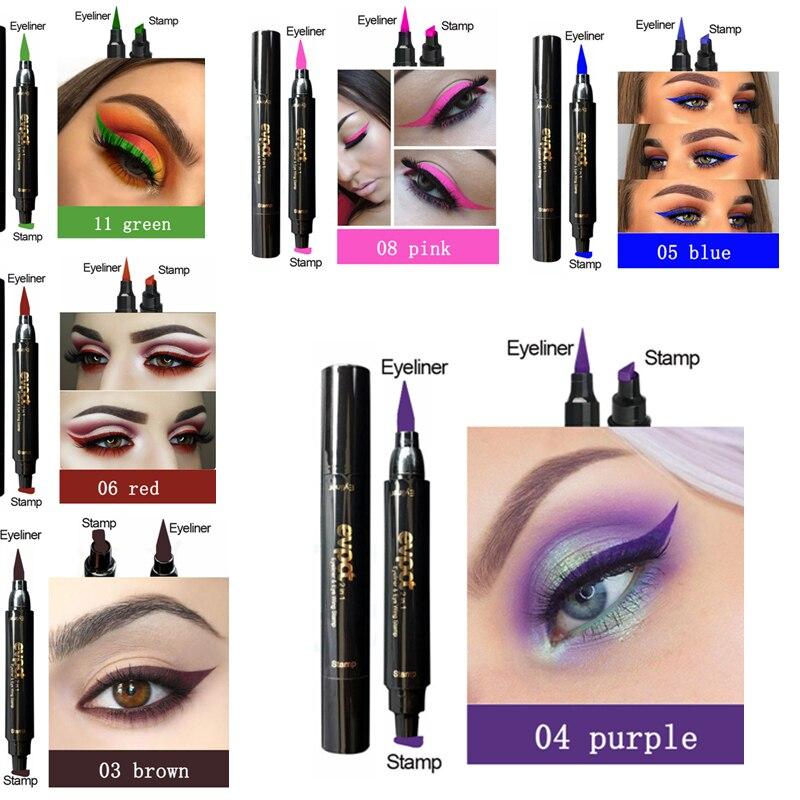 Evpct Double-Head Liquid Eyeliner with Stamp Eye Pencil Waterproof Seal Makeup Eye Liner Blue Black Brown maquiagem TSLM1