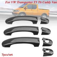 Ensemble de 7 couvercles de poignée de porte VW   En Fiber de carbone, pour VW transporteur T5 T6, caddie pour camionnettes 2004 05 06 07 08 09 10 11 12