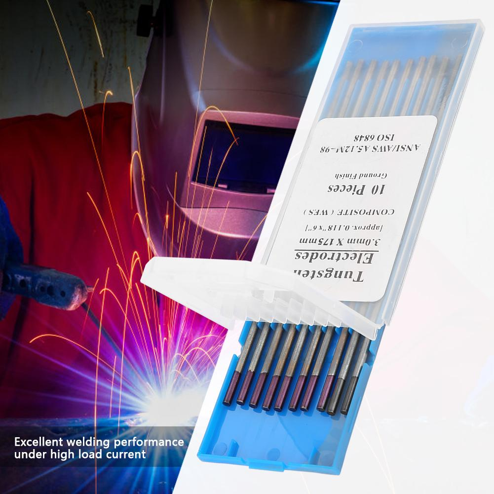 10 pcs Weld Electrode Purple Head 3.0*175mm WES Tungsten Electrode Welding Accessory 10-400A 3.0*175mm/150mm Purple