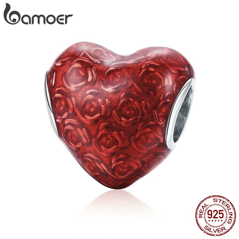 BAMOER Valentines 925 스털링 실버 레드 로즈 하트 모양의 꽃 매력 비즈 맞는 매력 팔찌 발렌타인 쥬얼리 SCC1064
