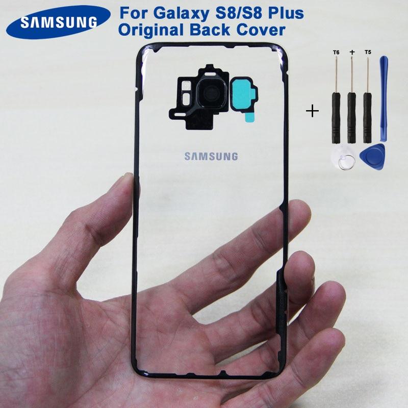Original Samsung Back Battery Door Rear Glass Case For Samsung Galaxy S8 G9500 S8 Plus S8+ SM-G SM-G955 Phone Transparent  Door