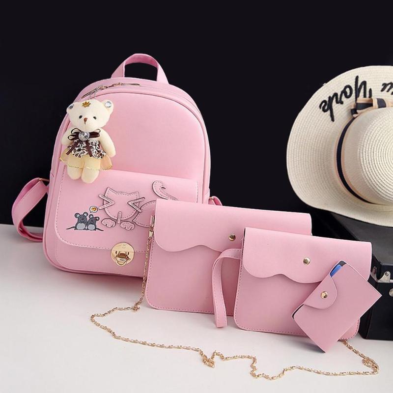 4 unids/set Mochila De la PU de la manera de las mochilas de la mochila de la impresión linda de los niños de la mochila de viaje para las niñas adolescentes 218
