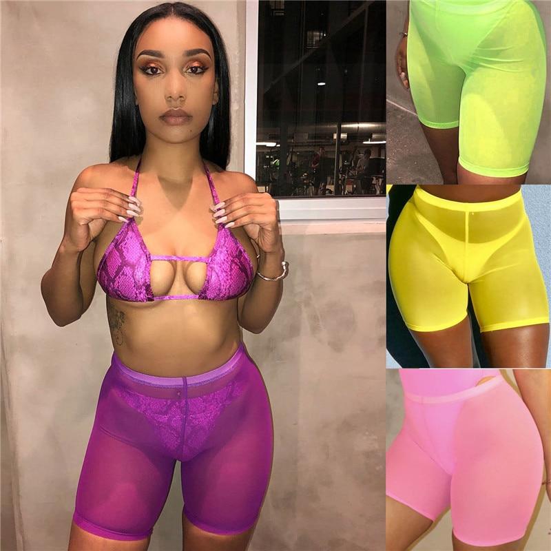 Sexy para mujer de alta cintura translúcido malla Shorts Bikini cubrir deportes Yoga gimnasio ropa de playa Slim Fit neón Shorts Jogging Hot